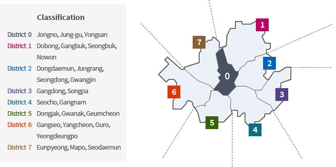 Map of Seoul City Station Regions